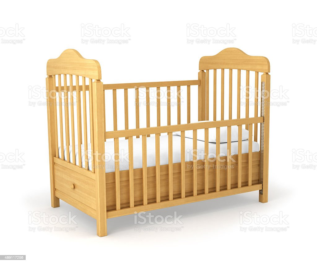 Baby cot isolated under the white background stock photo