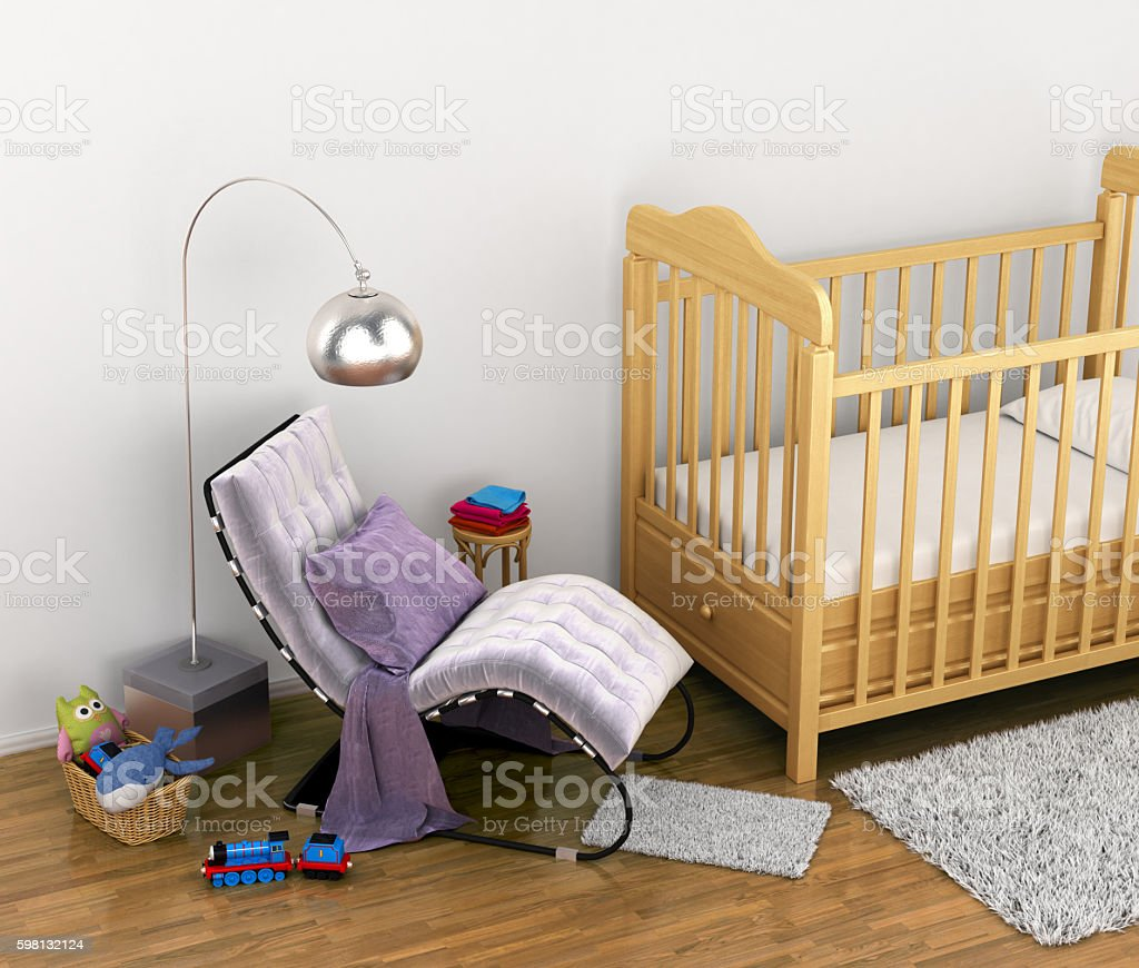 baby cot, toys, a chair stock photo