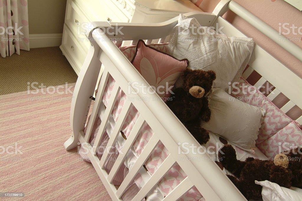 Baby Crib and Teddy Bears royalty-free stock photo