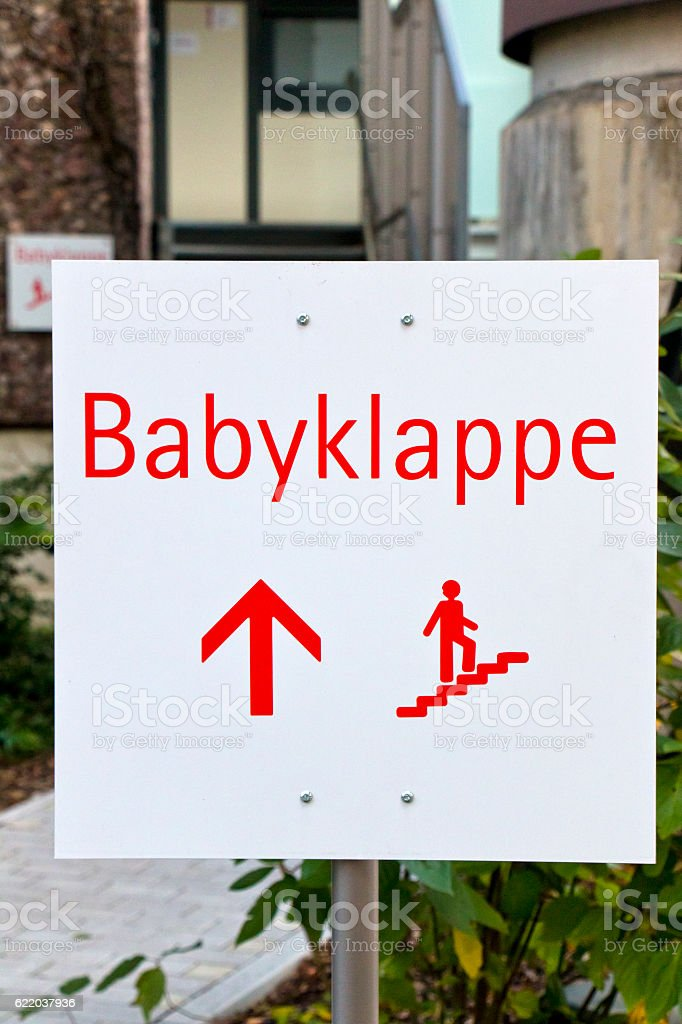 Baby Drop-Off Box Sign stock photo
