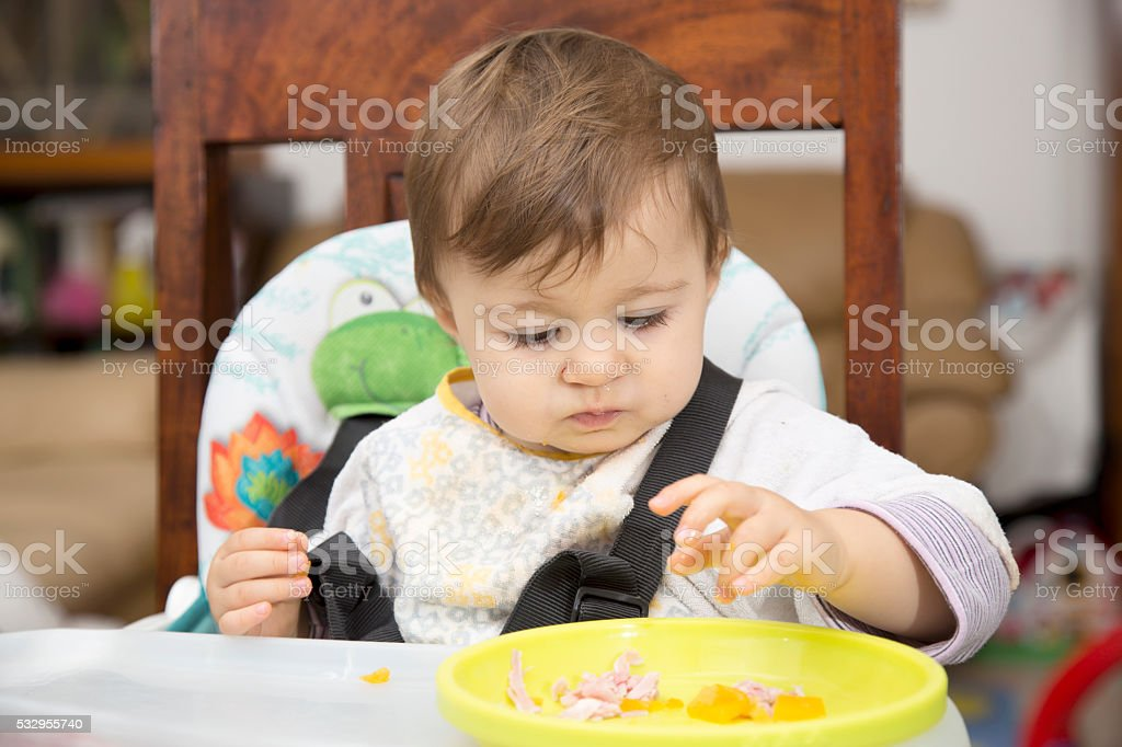 Baby eating from a plate stock photo