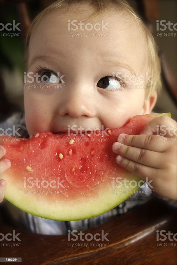 Baby Eating Watermelon royalty-free stock photo