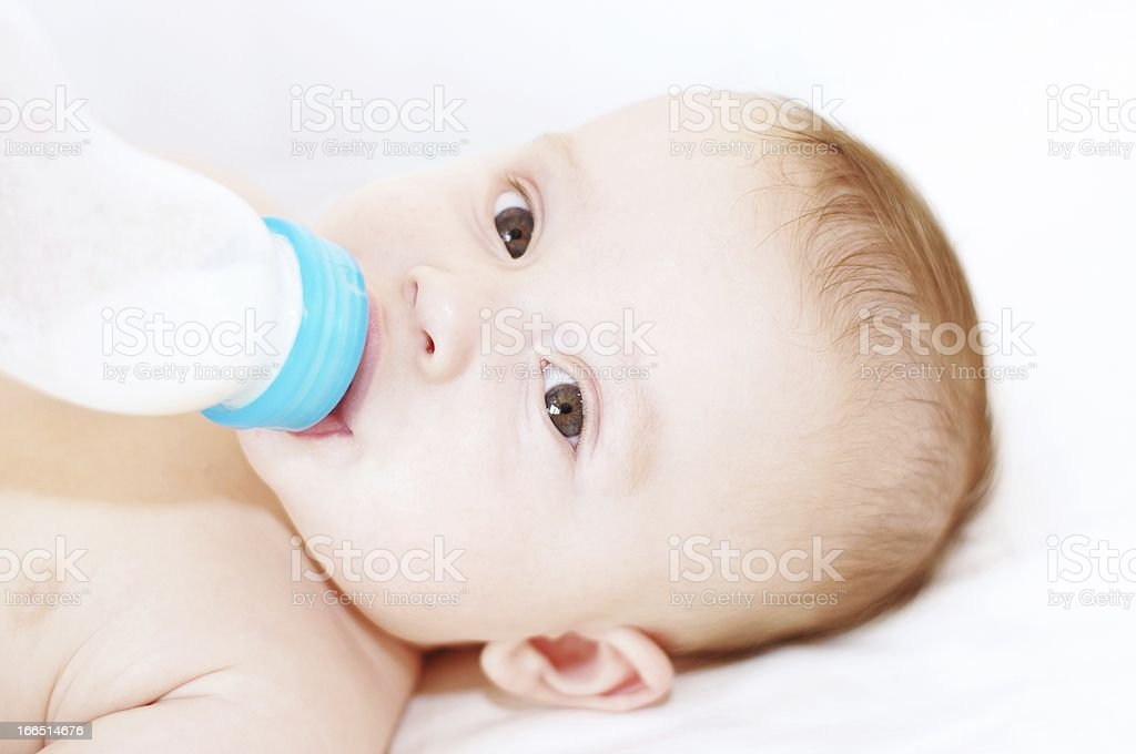 Baby eats from a bottle royalty-free stock photo