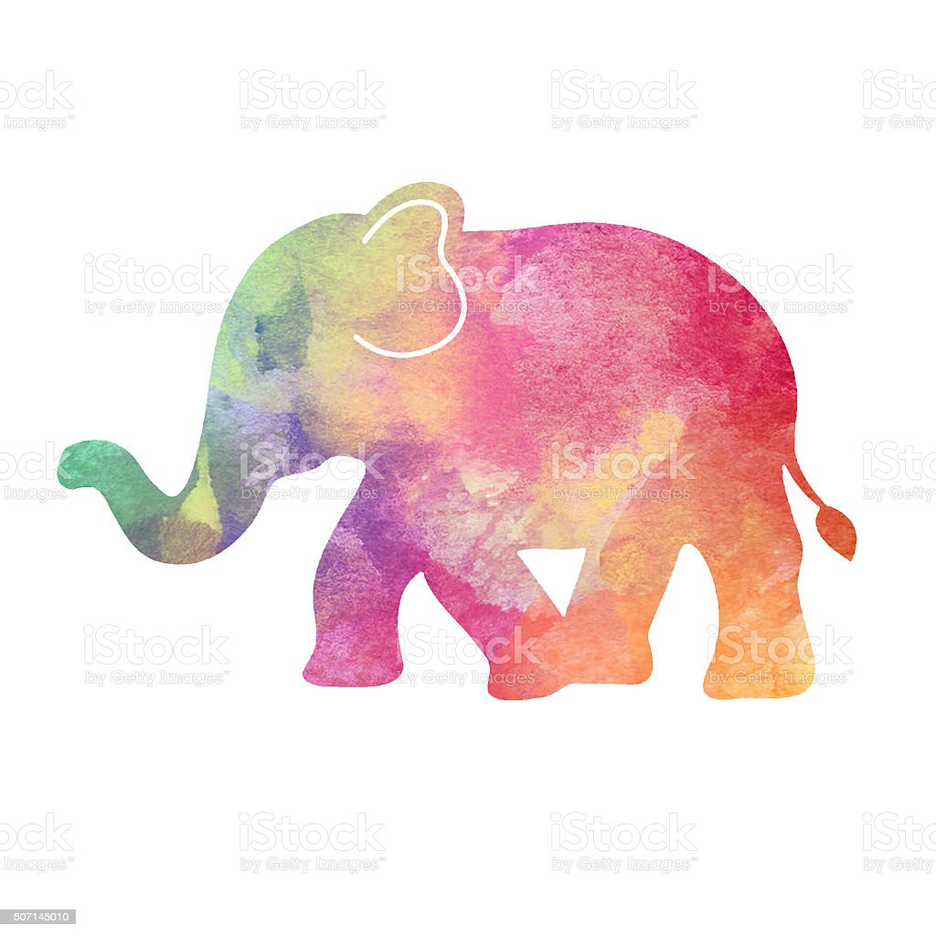 Baby Elephant Rainbow Watercolor Print stock photo