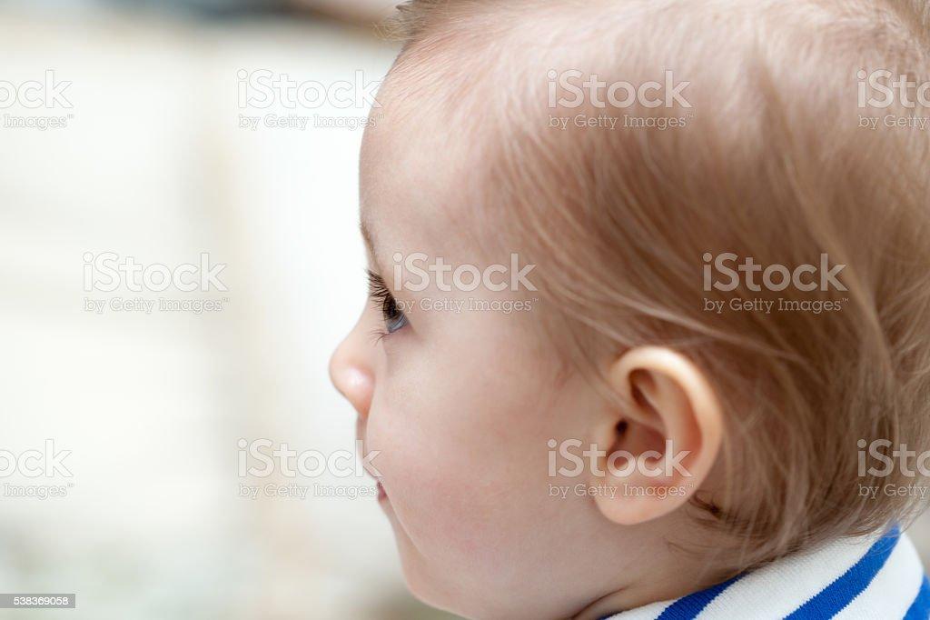 Baby face profile stock photo