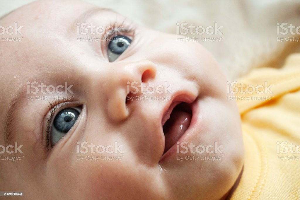 Baby face smiling stock photo
