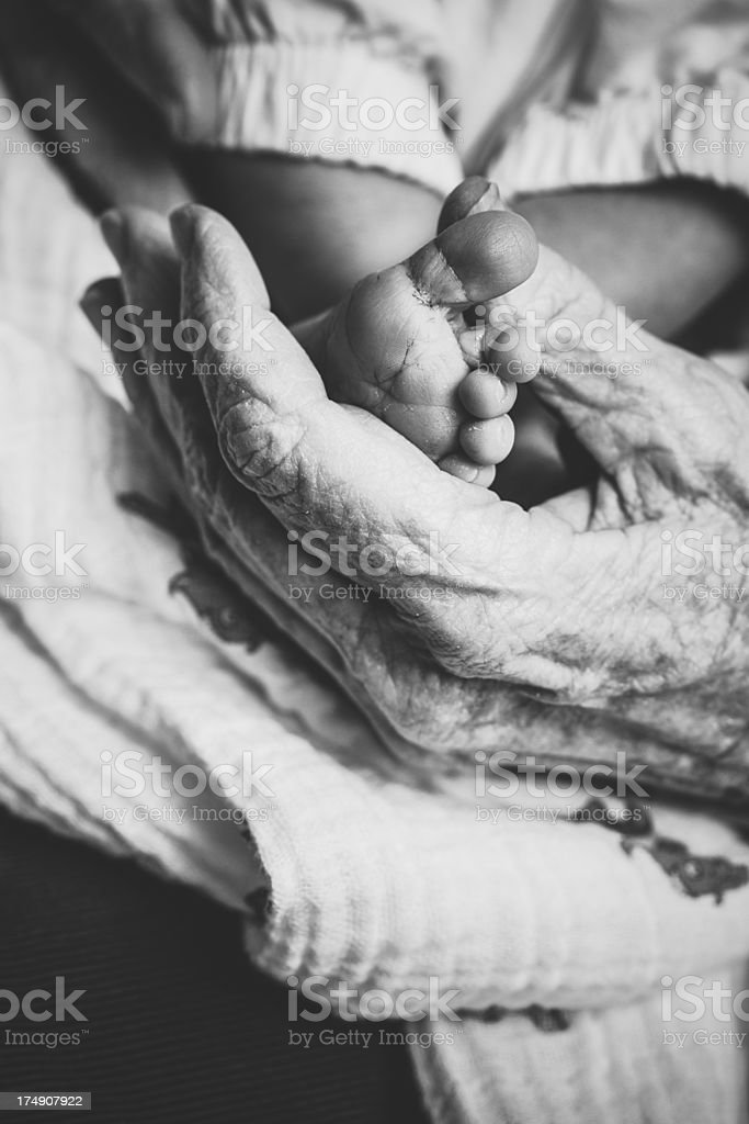 Baby Feet in Elderly Womans Hand royalty-free stock photo