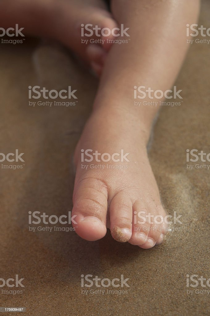 Baby Feet in the Sand Closeup stock photo