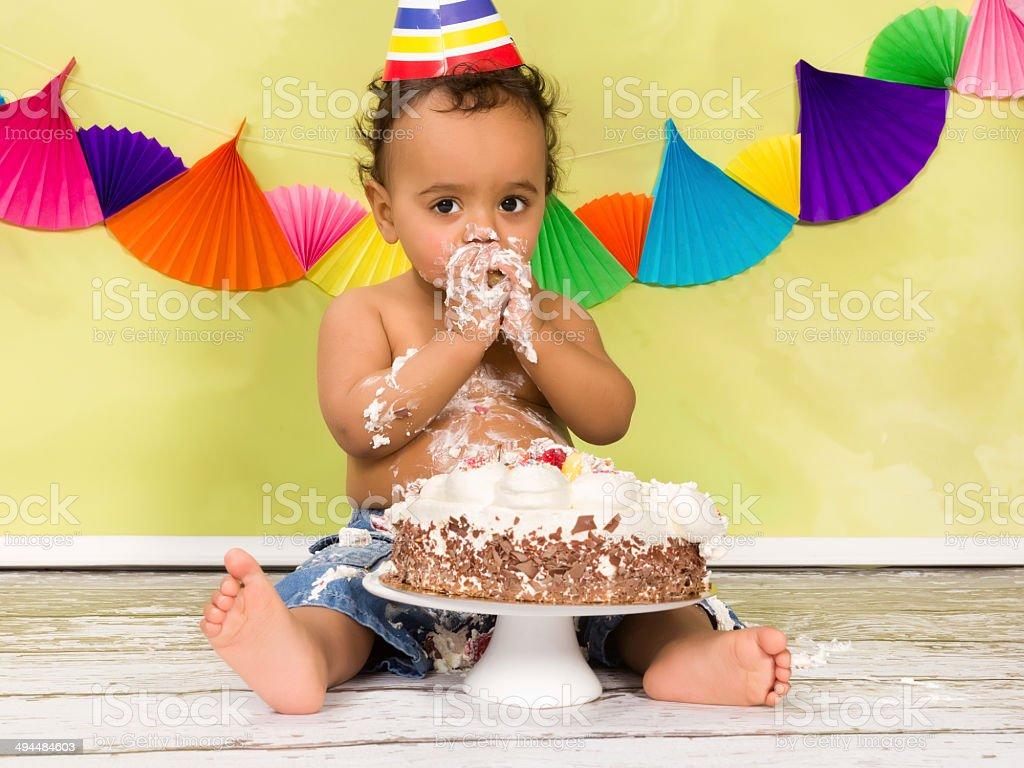 Baby first birthday stock photo