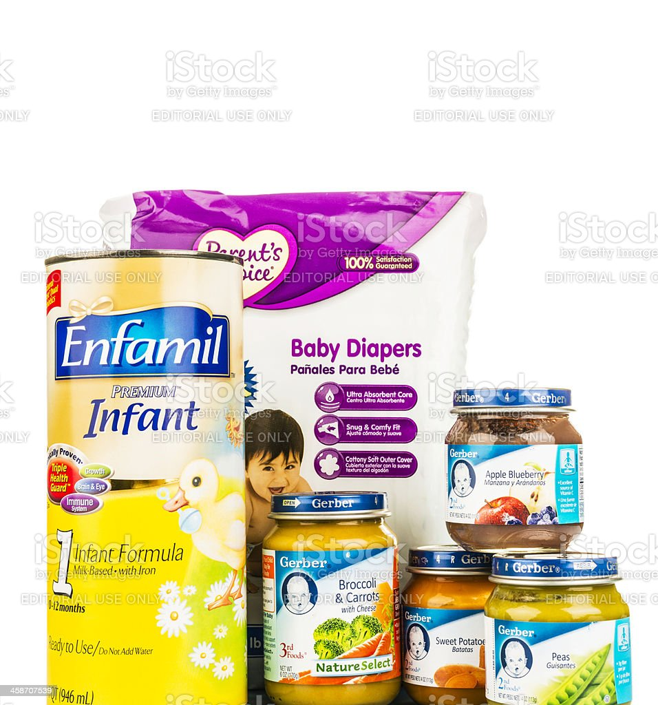 Baby Food and Diapers stock photo