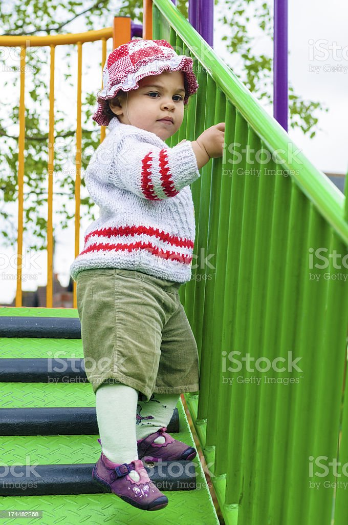 Baby Girl 17 Months Old Coming Down Stairs royalty-free stock photo
