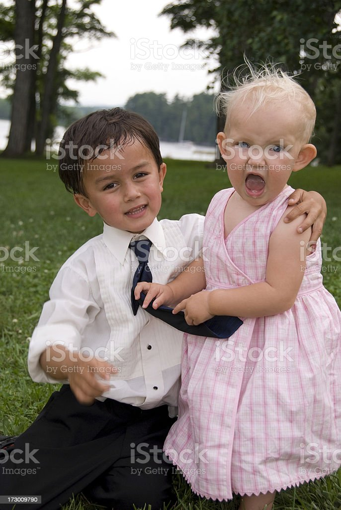 Baby Girl and Big Brother stock photo