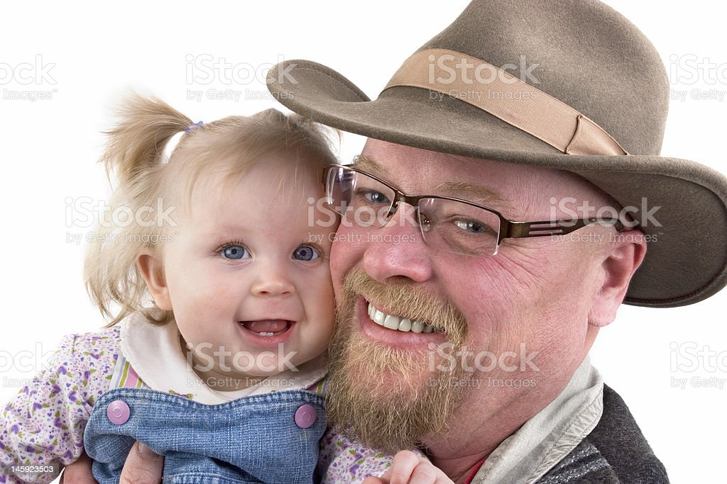 Baby Girl and Grandfather stock photo