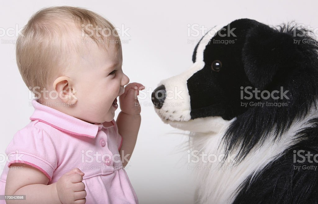 Baby Girl and her Puppy royalty-free stock photo