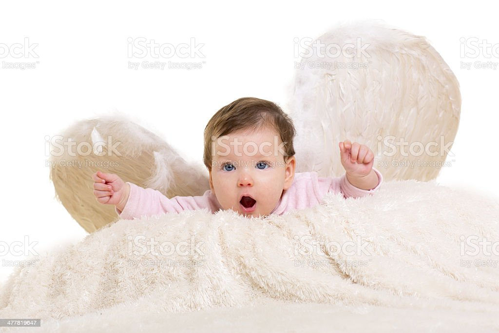 baby girl angel with feather white wings royalty-free stock photo