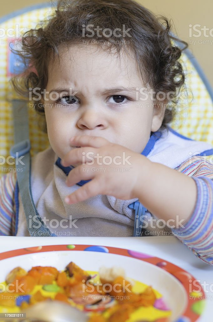 Baby Girl Being Picky Eater royalty-free stock photo