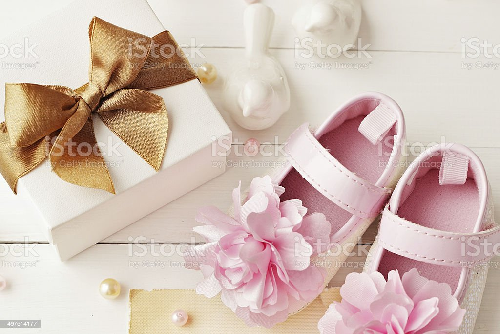 baby girl birthday greeting card stock photo