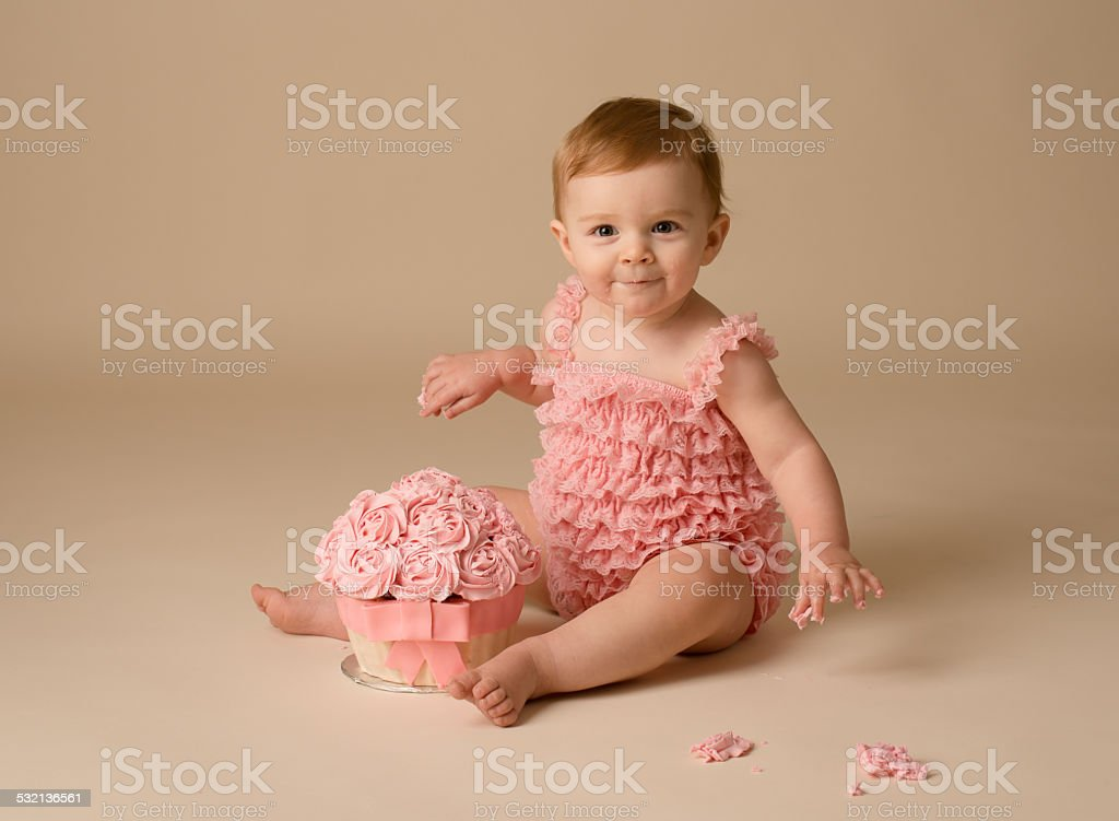 Baby Girl Cake Smash stock photo