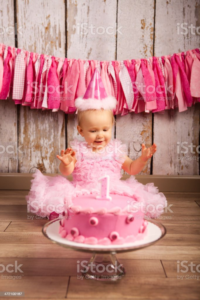 A baby girl celebrating her first birthday with a pink cake stock photo