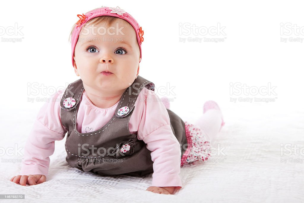 Baby Girl Crawling on the Floor royalty-free stock photo