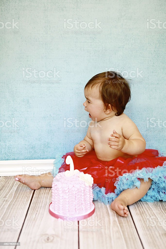 Baby Girl Crying on Her First Birthday royalty-free stock photo