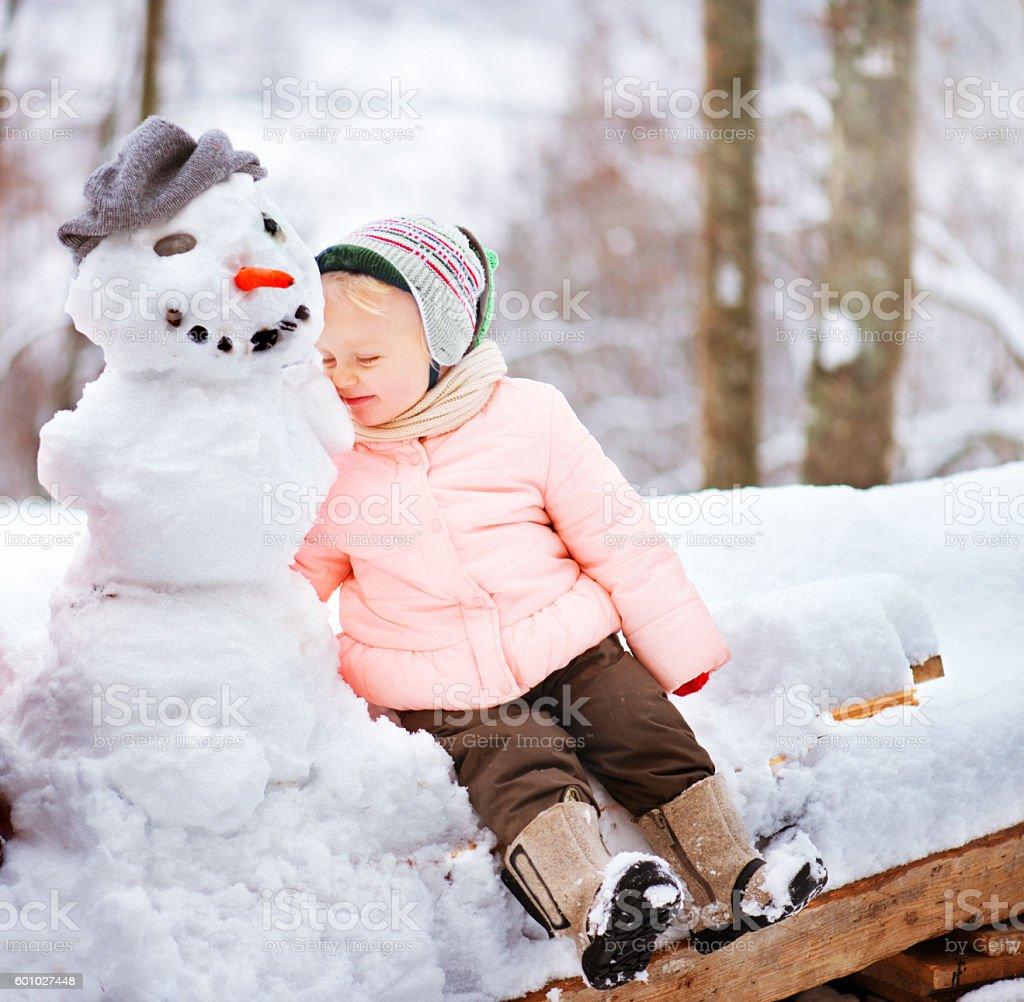 Baby Girl Enjoying Winter stock photo