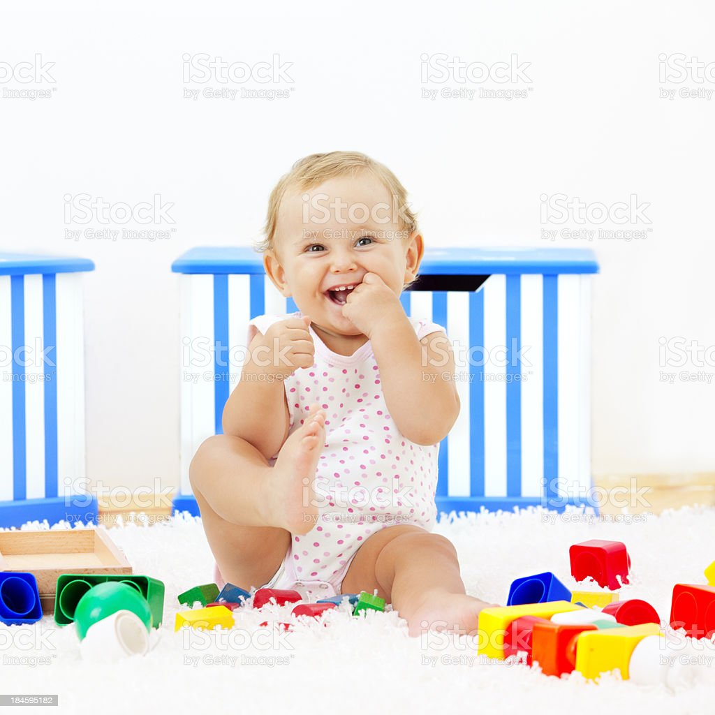 Baby girl having fun at home royalty-free stock photo