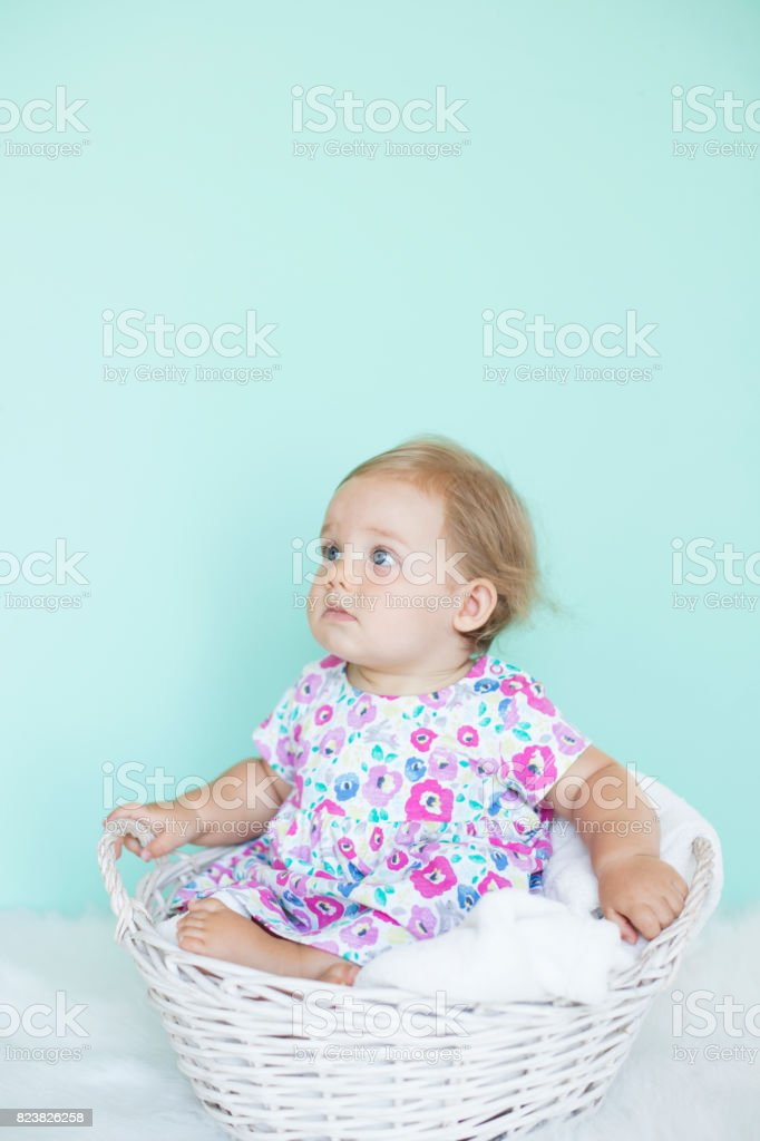 Baby girl in basket with fluffy blanket stock photo