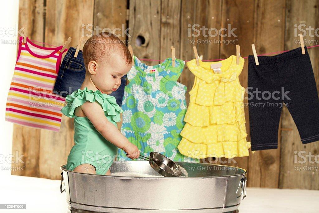 Baby girl in bathtub royalty-free stock photo