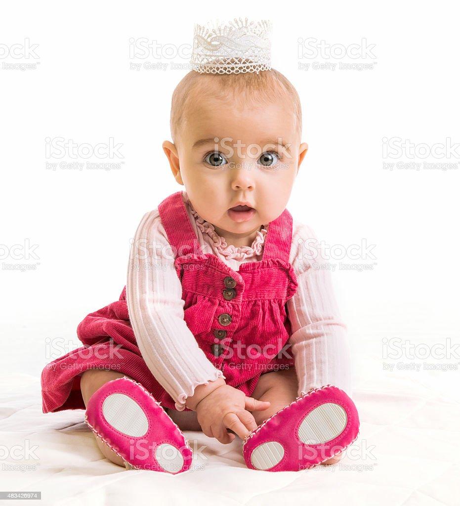 baby girl in costume princess stock photo