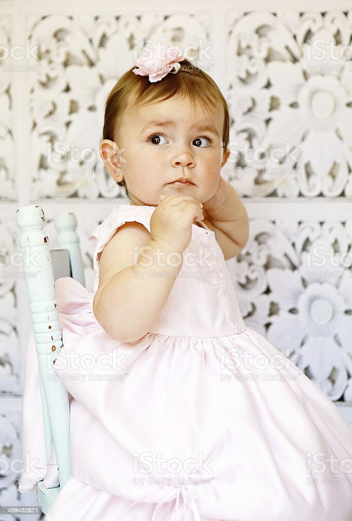 Baby Girl in Pink Dress royalty-free stock photo