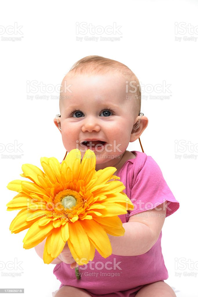 A baby girl in pink holding a flower royalty-free stock photo