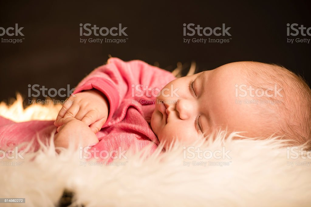 Baby girl in studio stock photo