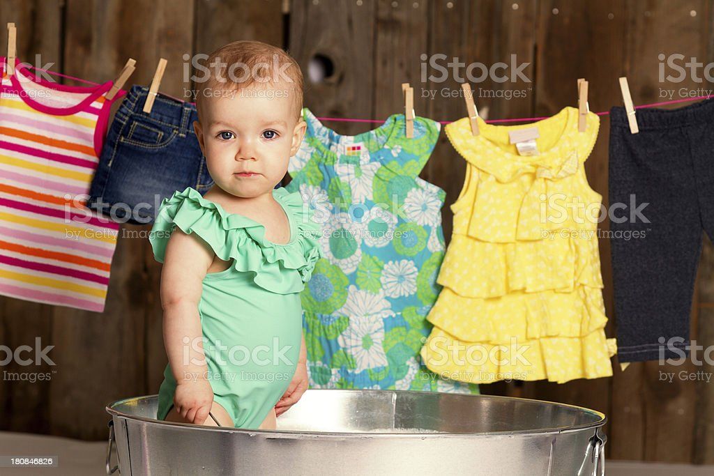 Baby girl in tub royalty-free stock photo