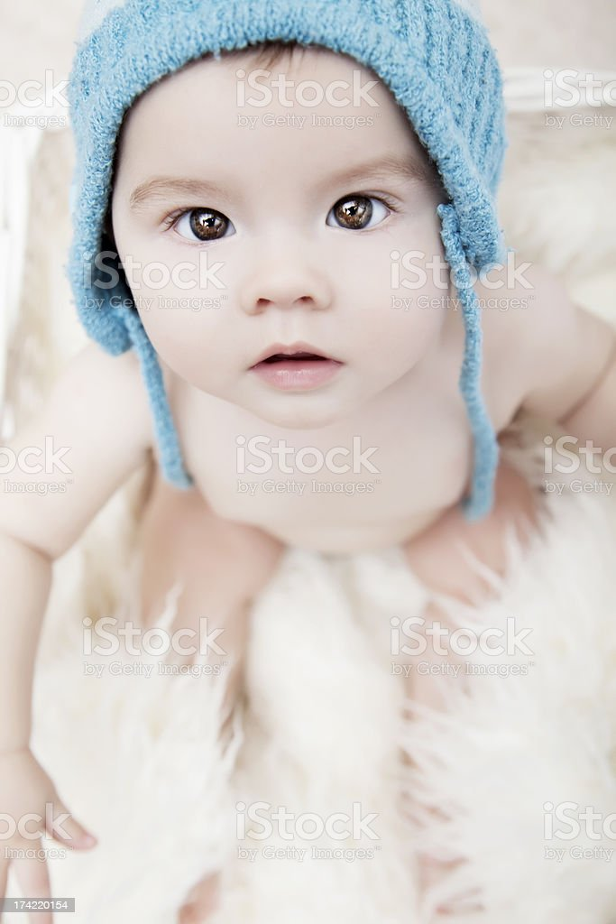 Baby Girl Looking at Camera stock photo