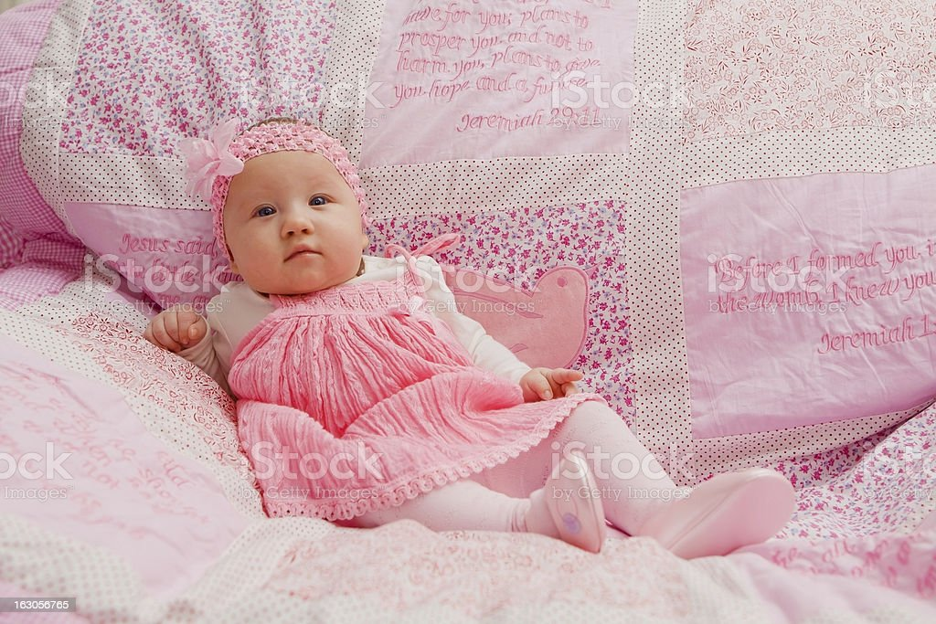 Baby Girl on Pink Blanket royalty-free stock photo