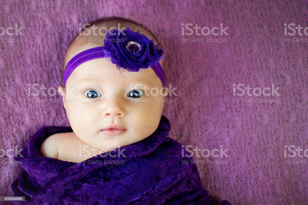 Baby Girl on Purple stock photo