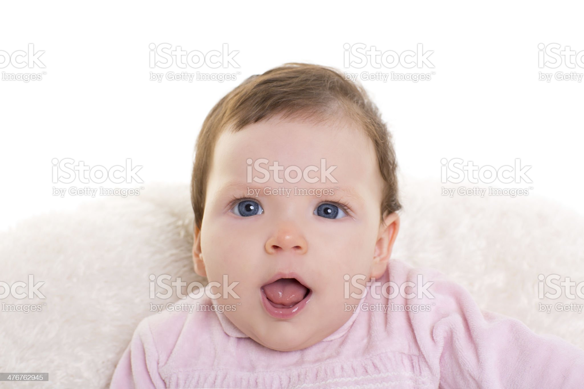 baby girl open mouth funny gesture in pink royalty-free stock photo