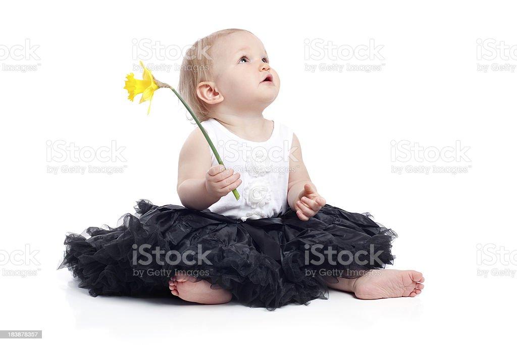 Baby Girl Sitting on White Background Holding Flower royalty-free stock photo