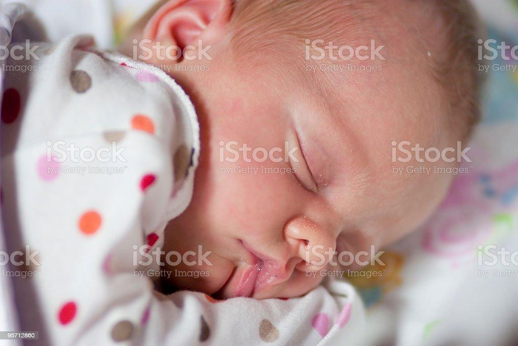 Baby girl sleeping stock photo