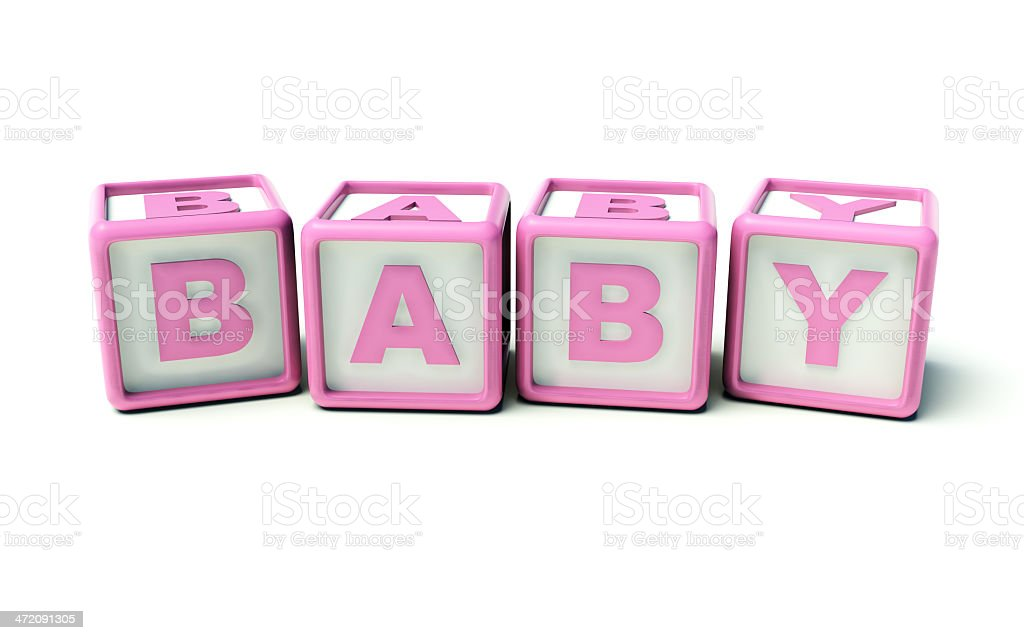 Baby girl toy cubes stock photo