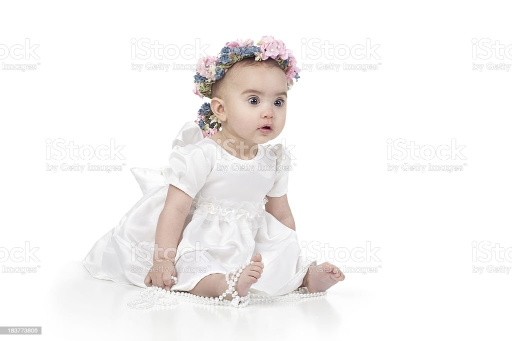 Baby Girl Wearing Dress on White Background royalty-free stock photo