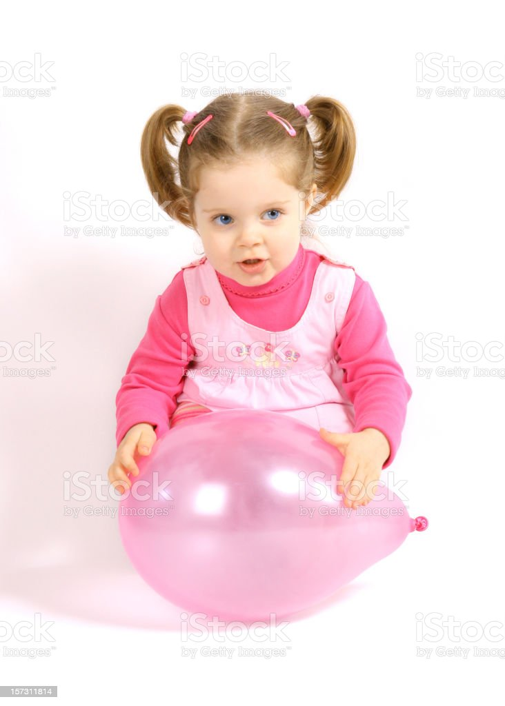 Baby girl with balloon royalty-free stock photo