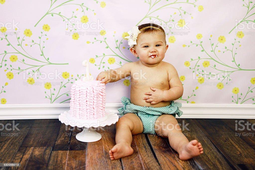 Baby Girl With Birthday Cake stock photo
