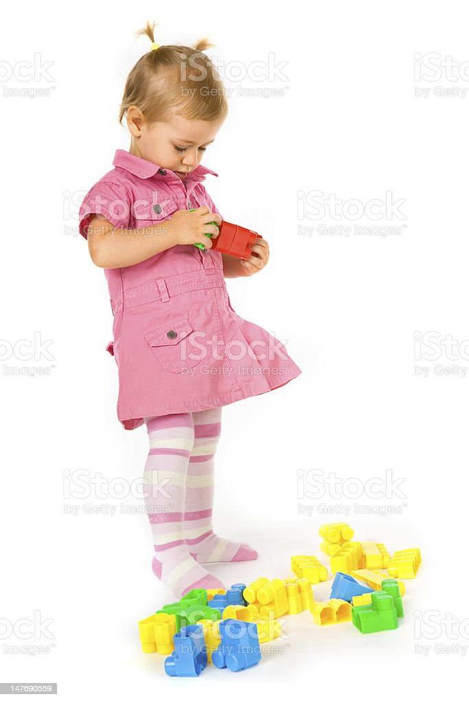 Baby girl with blocks royalty-free stock photo