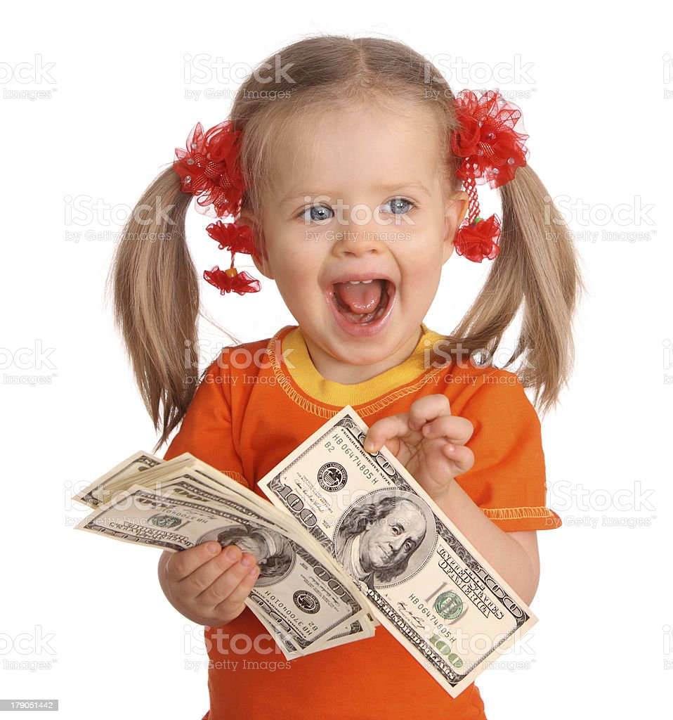 Baby girl with dollar banknote. royalty-free stock photo