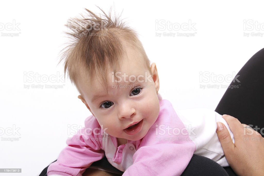 Baby girl, with Mohawk hair style royalty-free stock photo