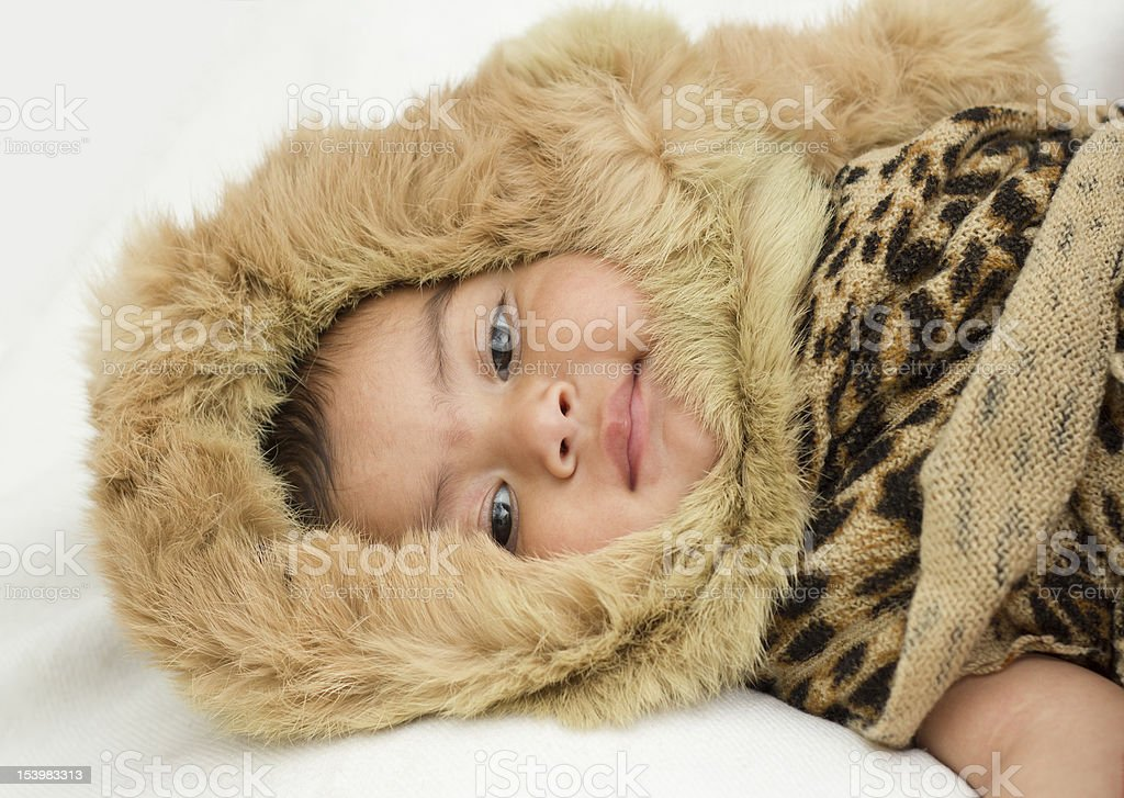 Baby girl with muffler and scarf royalty-free stock photo