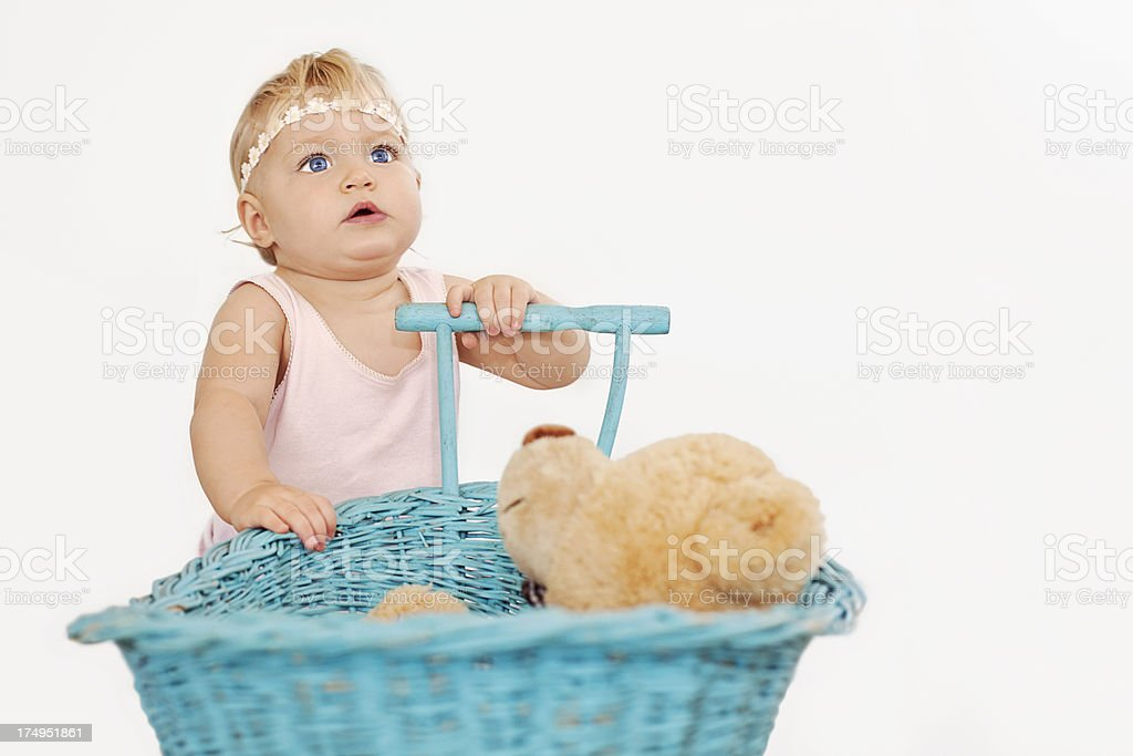 Baby girl with stroller royalty-free stock photo