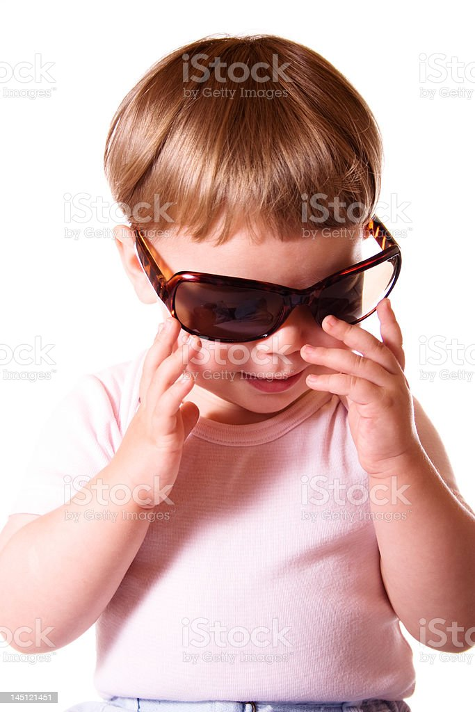 Baby girl with sun glasses stock photo